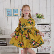 boutique long sleeve mustard floral flannel dress